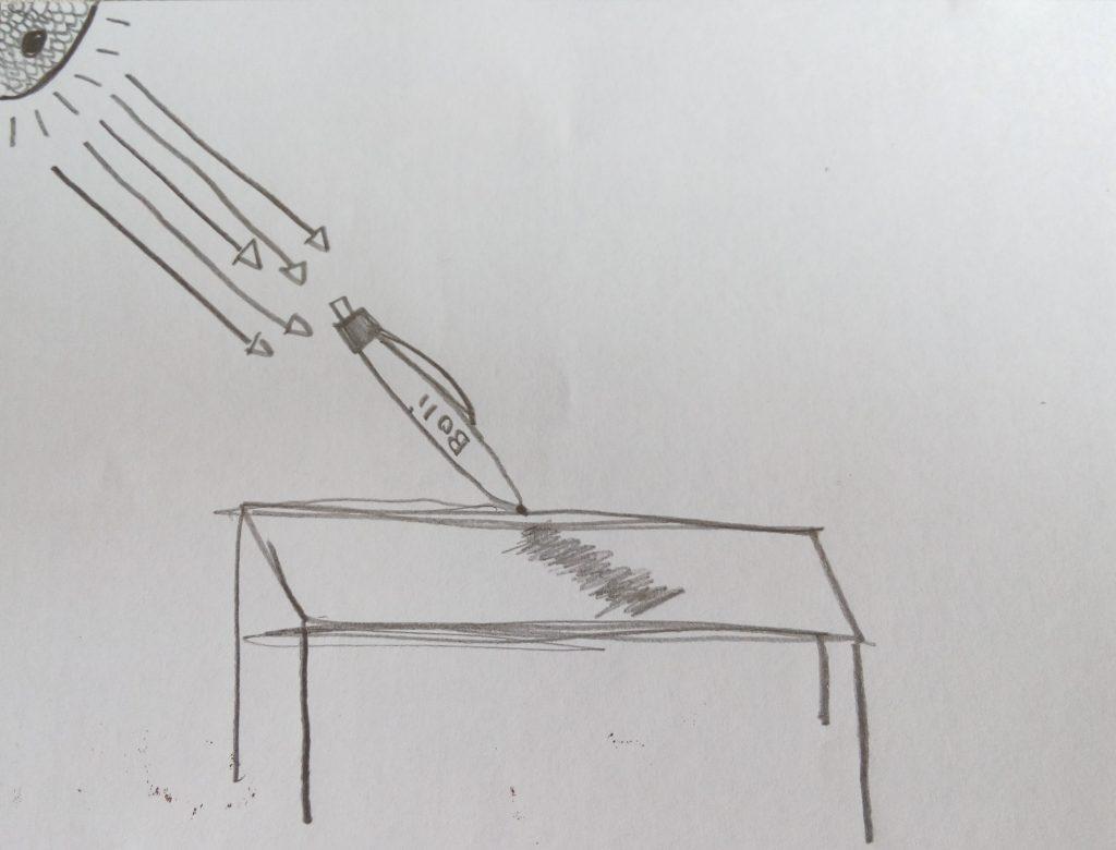 """""""Para de facer barullo co boli"""", díxolle a profesora a Miguel. Mais o que ela non sabía era que o boli se movía soíño."""